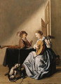 A young Woman playing a Lute with a Youth singing in an Interior - (after) Jan Miense Molenaer