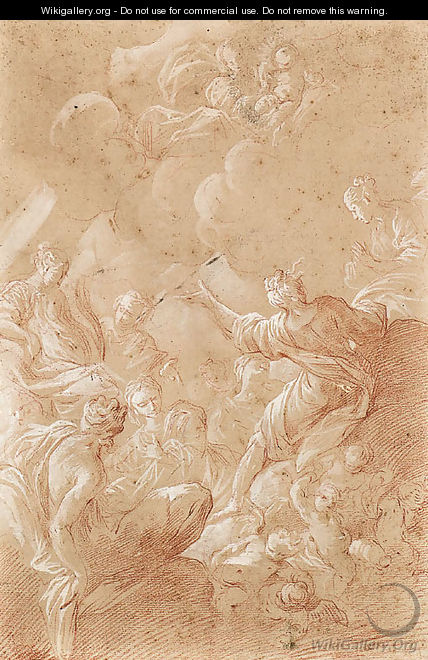 The Madonna and Child appearing to female Saints seated on Clouds with Putti - Bartolomeo Biscaino
