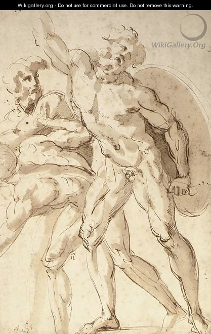 A nude warrior with a shield reaching up to the left, two crouching nudes to the left - Baccio Bandinelli