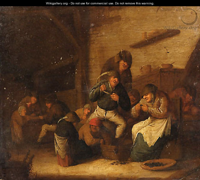 Peasants Gaming and eating Mussels in an Interior - Bartholomeus Molenaer