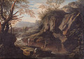 A Gorge with Peasants fishing and Bandits - Bartolomeo Torreggiani