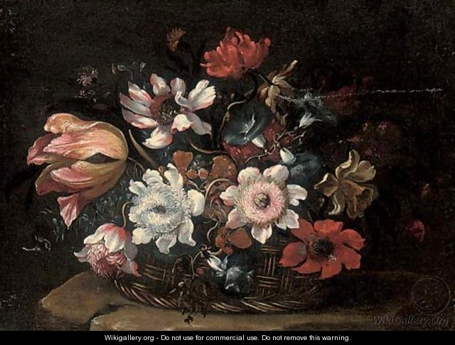 A tulip, morning glory, roses and other flowers in a wicker basket on a stone ledge - Bartolomeo Ligozzi