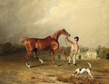 Charles Arnott's Chestnut Hunter Held by a Groom in an Extensive Landscape, with Rushington Manor Beyond - Ben Marshall