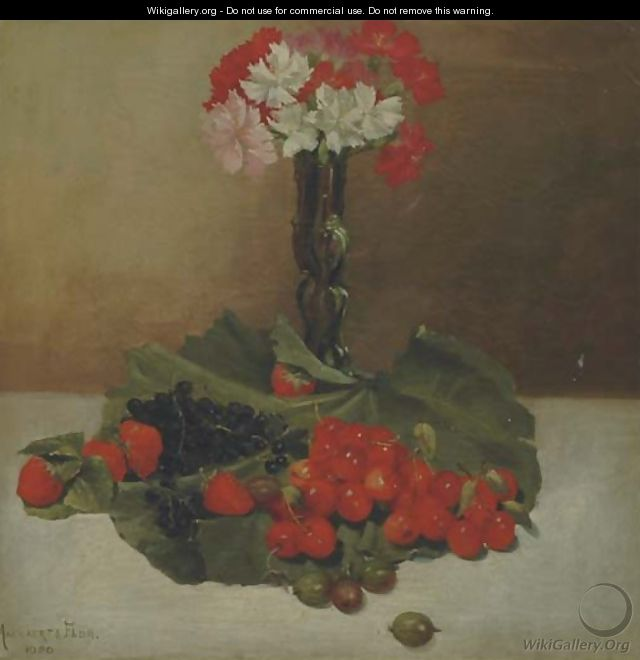 Fruits and flowers on a table - Belgian School