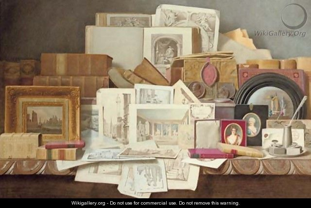 Art and Letters Still-life of books, paintings, prints and other objects - Benjamin Walter Spiers
