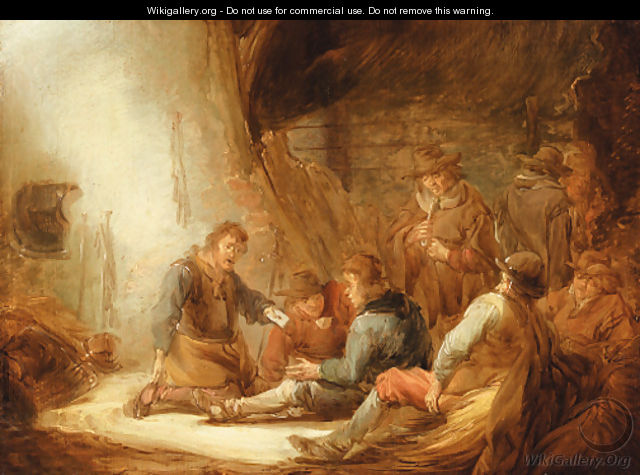 Soldiers playing cards in a grotto - Benjamin Gerritsz. Cuyp
