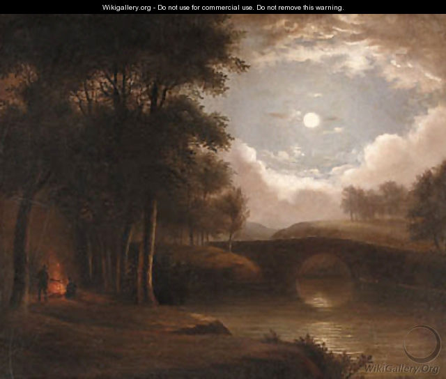 Moonlight Landscape with Campfire - Benjamin Champney