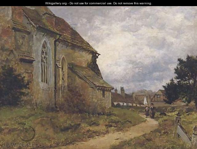 The village church, Shere, Surrey - Benjamin Williams Leader