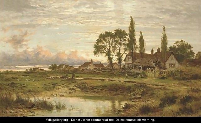 The Outskirts of a Worcestershire Common, clearing up after rain, Evening - Benjamin Williams Leader