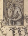 A hermit contemplating a crucifix, with studies of putti and a head in profile - Bernardino Luini