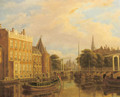 A view of the river Amstel with the Nieuwmarkt and Oude Kerk, Amsterdam - Augustus Wijnantz