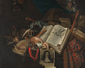 A vanitas still life of books and scrolls - B. Van Eijsen