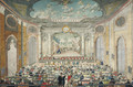 An opera performance in a baroque theater, possibly Eszterhaza - Austrian School