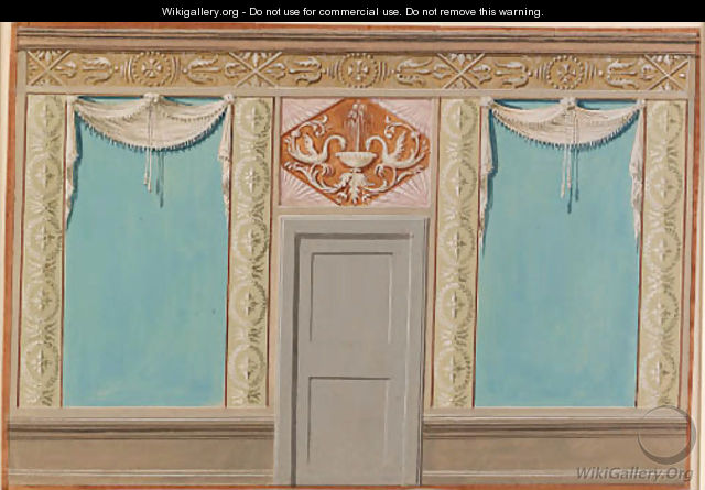 Designs with a neo-classical theme, with indications of wall coverings, frieze and dado designs, overdoors and decorative medallions - Austrian School