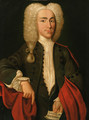 Portrait of a gentleman, said to be Balthasar Wallhier, standing half-length, in a brown coat with a red wrap - Austrian School