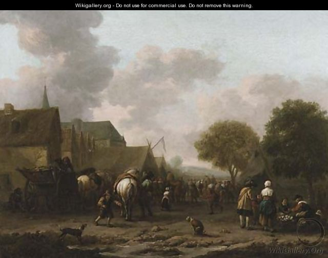 A village landscape with travellers on the street by a vegetable seller - Barent Gael
