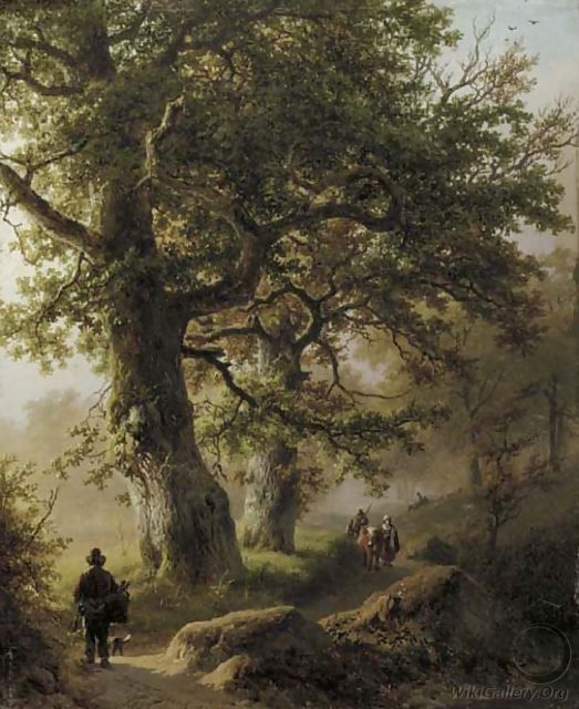 Boschgezigt bij morgenstond travellers on a forest path - Barend Cornelis Koekkoek
