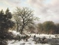 A winter landscape with wood gatherers and skaters - Barend Cornelis Koekkoek