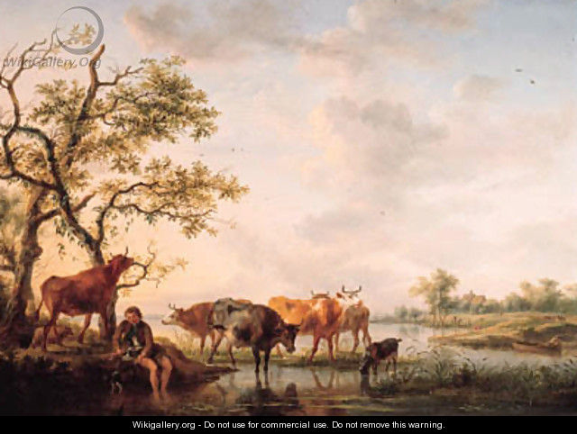 A cowherd watering cattle at sunset - Balthasar Paul Ommeganck