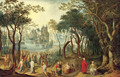 A wooded river landscape with Christ and the Young Ruler, a village beyond - Balthasar Beschey
