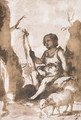 The Infant Baptist seated on a rock with a lamb - Bartolome Esteban Murillo