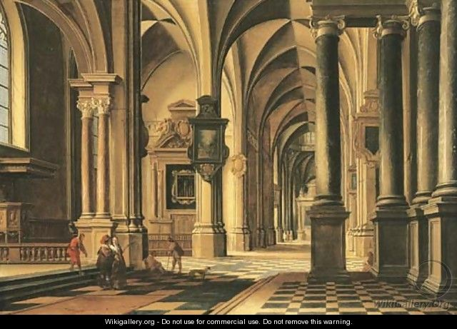 A church interior with elegant company conversing in the aisle - Bartholomeus Van Bassen
