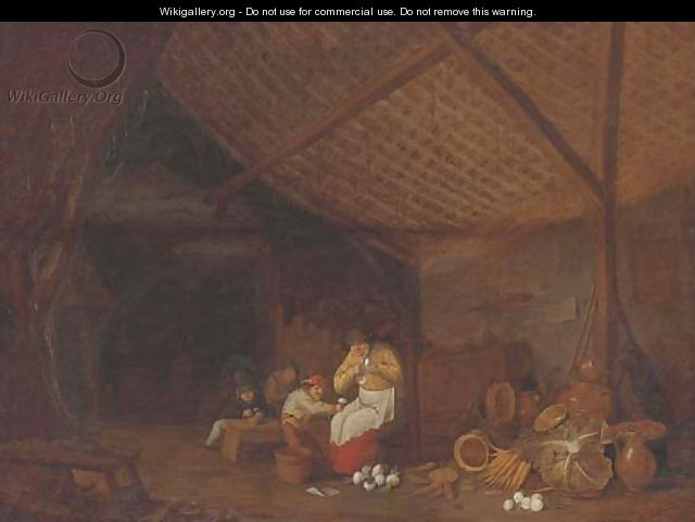 A barn interior with a woman and children peeling onions, earthenware pots, carrots, onions and a cabbage nearby - Bartholomeus Molenaer