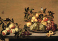 Fruit Grapes, peaches, apples and a pearon a Waanli 'kraak' porselein plate, with other fruit on a ledge - Bartholomeus Assteyn
