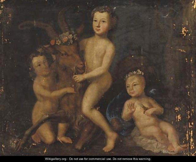 Three putti playing with a goat - Barthelemy Guillibaud
