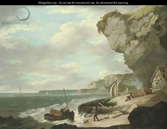 Coastal scene with fishermen on a beach in the foreground and sailing boats beyond - (after) William Hodges