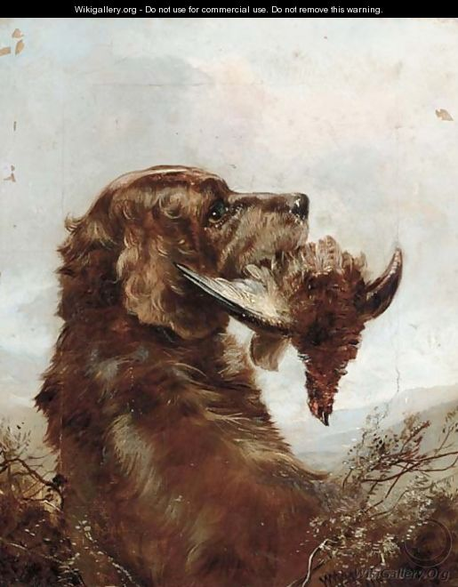 A gun dog with a grouse - (after) William Woodhouse