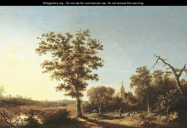 A wooded landscape with a shepherd and his flock, a church beyond - (after) Willem Schellinks