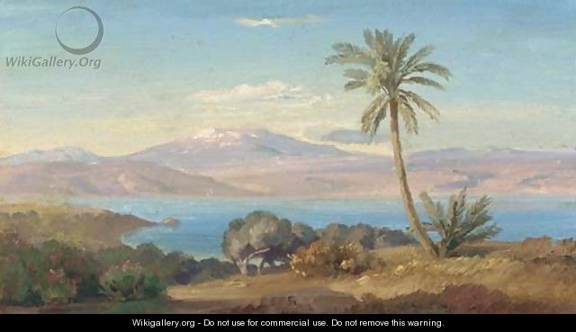 The Sicilian coast with Mount Etna in the distance - August Albert Zimmermann