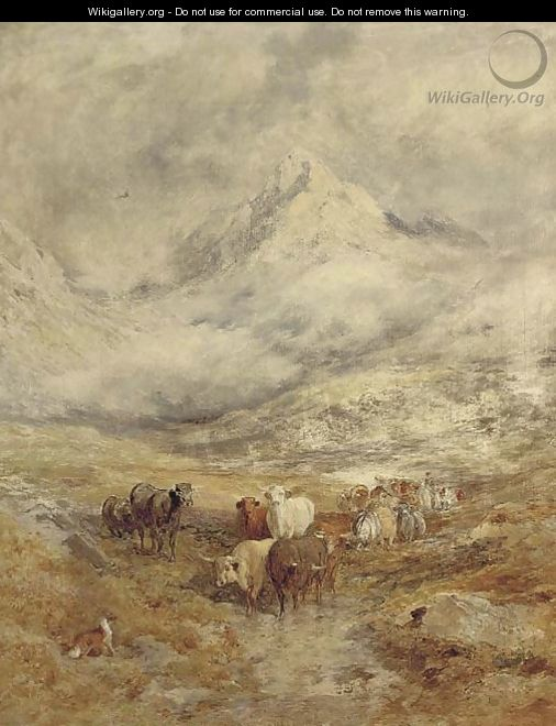 Cattle in a highland landscape - (after) William Joseph Julius Caesar Bond