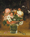 Still Life with Flowers in a Glass - (after) William Sidney Mount