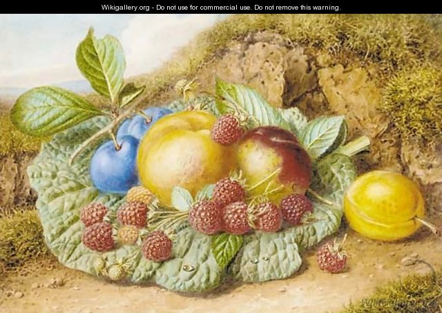 Still life with nectarines, raspberries and plums on a mossy bank - Augusta Innes Withers