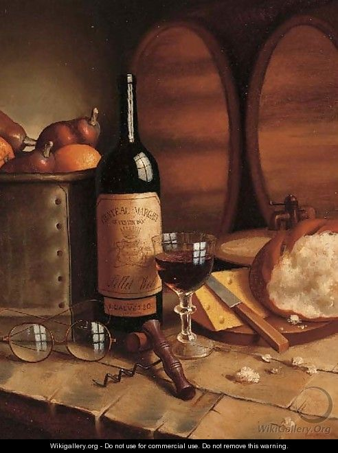 A bottle of Chateau Margaux, a goblet, fruit, bread, cheese and spectacles on a table - August Muller