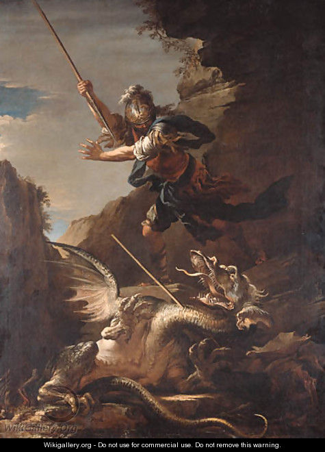 Saint George and the Dragon - (after) Rosa, Salvator