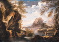 A mountainous river Landscape with Peasants conversing on a Bank - (after) Rosa, Salvator