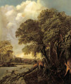 A wooded river landscape with a village in the distance - (after) Salomon Rombouts