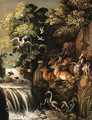 Deer, goats, an elephant and other animals by a waterfall - (after) Roelant Savery