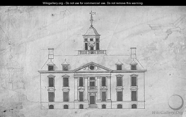 Design for a country house with ogee dome, with subsidiary studies of the dome and entablature - (after) Robert Hooke