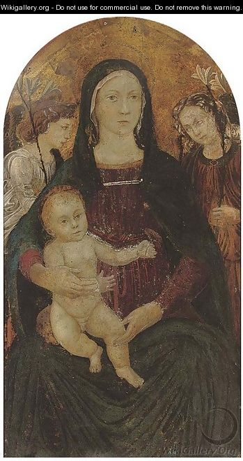 The Madonna and Child surrounded by angels - (after) The Master Of Marradi