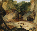 A rocky river landscape with a heron - (after) Sir Edwin Henry Landseer