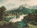 A wooded river landscape with figures by a village and a tower on an island - (after) Tobias Van Haecht (see Verhaecht)