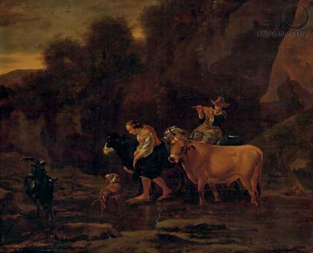 A shepherd and shepherdess with cattle in a landscape - (after) Nicolaes Berchem