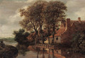 A river landscape with a mother and child on a path and a farmstead beyond - (after) Meindert Hobbema