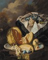 Grapes, melon, an apple and plums on a silver salver - (after) Maximilian Pfeiler