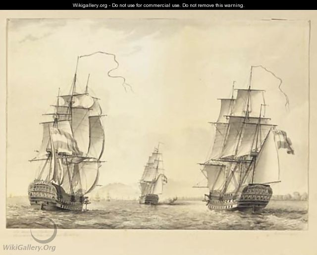 De reede van Batavia Three-masters off the coast of Batavia - (after) Martinus Schouman