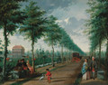 A view of The Hague with elegant figures walking in an avenue - (after) Paulus Constantin La Fargue